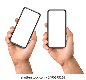 Man hand holding the black smartphone  blank screen with modern frameless design, two positions vertical and rotated - isolated on white background - Shutterstock ID 1490895236