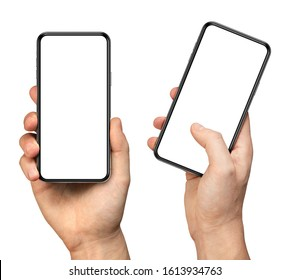 Man hand holding the black smartphone with blank screen and modern frameless design - two versions simple with vertical screen and angled with touching screen with finger - isolated on white