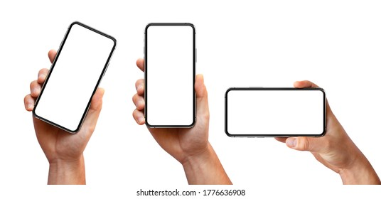 Man hand holding the black smartphone with blank screen and modern frameless design three positions angled, vertical and horizontal - isolated on white background - Shutterstock ID 1776636908