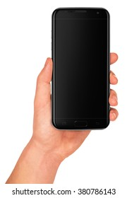 Man hand holding the black smartphone with blank screen. Tip: screen reflections affect to the pasted image or screenshot, if you set the blending mode to SCREEN in graphic program.