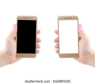 Man hand holding the black and white smartphone.