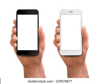 Man hand holding the black and white smartphone with blank screen in little angled position - isolated on white background