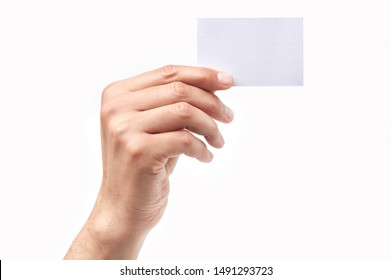 Man hand holding a blank card isolated on a white background