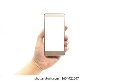 A man hand holding a blank golden smartphone
