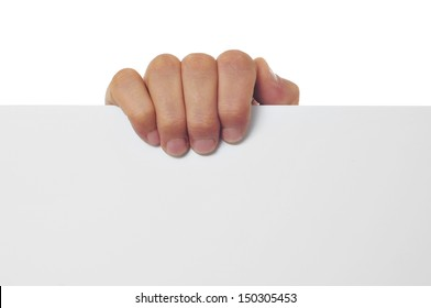 a man hand holding a blank signboard with a copy-space