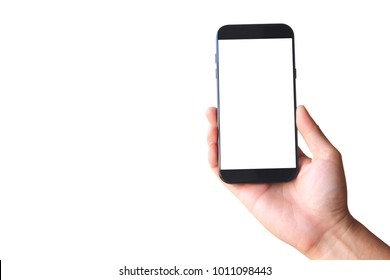Man hand holding blank smart phone on white background