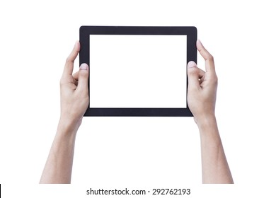 Man hand holding blank tablet screen showing up overhead person isolated background concept for reality kid using ipad pro augmented ar white website mockup, computer gadget meeting AI internet things