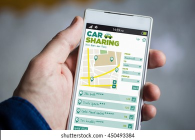 man hand holding car sharing smartphone. All screen graphics are made up.