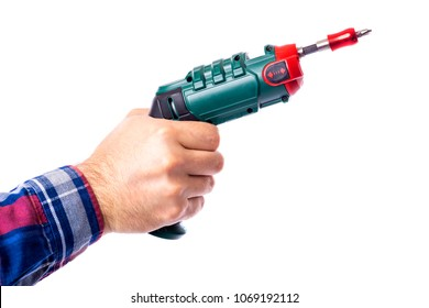Man hand holding a cordless screwdriver over white background.