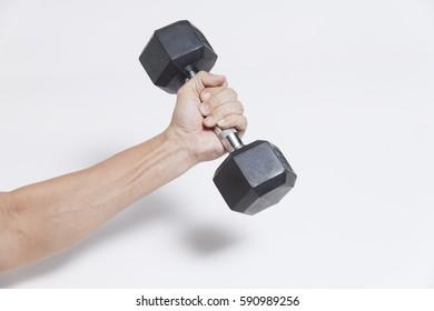 man hand holding dumbbell