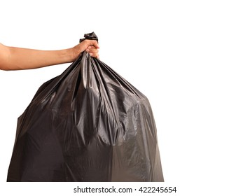 Man hand holding garbage bag isolated on white background