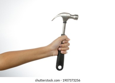 a man hand holding a hammer isolate on white background