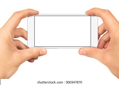 Man hand holding horizontal the black smartphone with blank screen, isolated on white background,