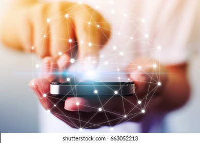 Man hand holding mobile phone with map point, Social network business connection concept