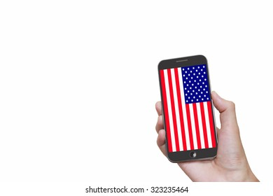 Man hand holding mobile smart phone with United States flag on the white background