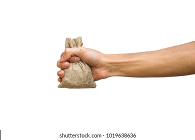 Man hand holding moneybag, brown sackcloth isolated on white background with clipping path.