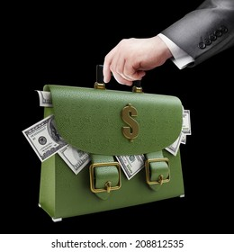 Man hand holding object ( green leather briefcase ) isolated on black background. High resolution