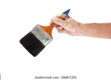 man hand holding  Paint Brush  on a white background.