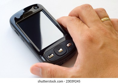 Man hand holding pda and stylus, isolated over white