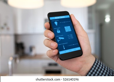 man hand holding phone with smart home on background home room kitchen
