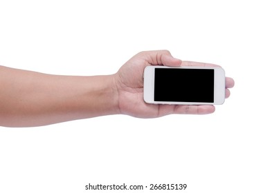 man hand holding the phone tablet isolated on white background