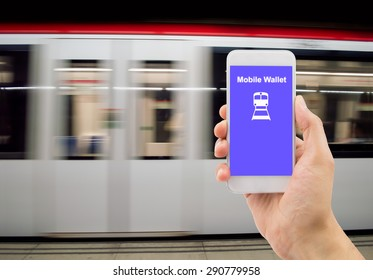 man hand holding the phone touch with a mobile wallet .All screen content is designed by us and not copyrighted by others and created with digitizing tablet and image editor