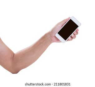 Man hand holding smart phone isolated on white background, clipping path