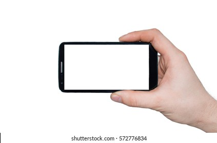 A man  hand holding smart phone making photo isolated on white background.