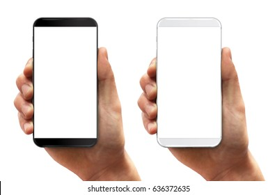 Man hand holding smartphone black and white isolated on white. Modern bezel free smartphones