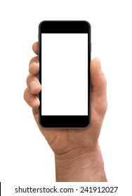 Man hand holding the smartphone with blank screen isolated on white.