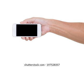 Man hand holding smartphone isolated on white background, clipping path