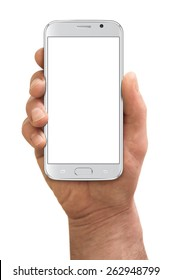 Man hand holding the smartphone, isolated on white background