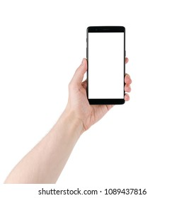 man hand holding smartphone with white screen isolated on white background
