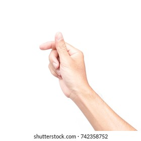 Man hand holding something on white background for text card paper or product advertising concept