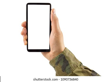 Man hand is holding a white modern smartphone with uniform military against a white background and copy space.