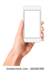 Man hand holding the white smartphone with blank screen, isolated on white background.