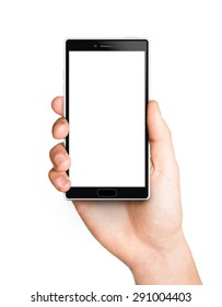 Man hand holding the white smartphone