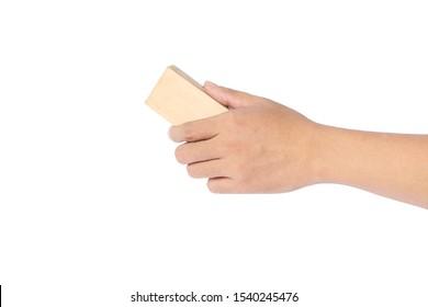 Man hand holding Whiteboard eraser isolated on white background.