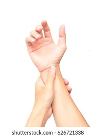 Man hand holding wrist with pain, health care and medical concept