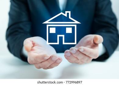 man hand house model in screen
