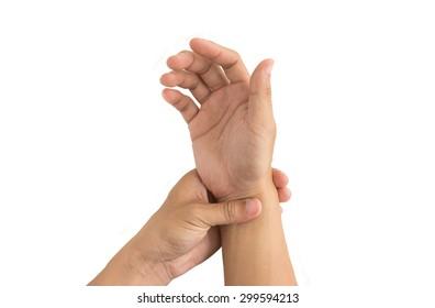 man hand injury white background