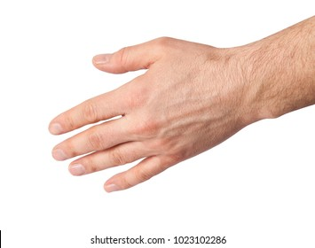 Man hand isolated on white background. Clipping path. Empty open
