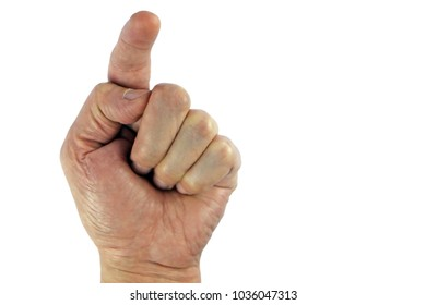 Man hand isolated on white background Point to