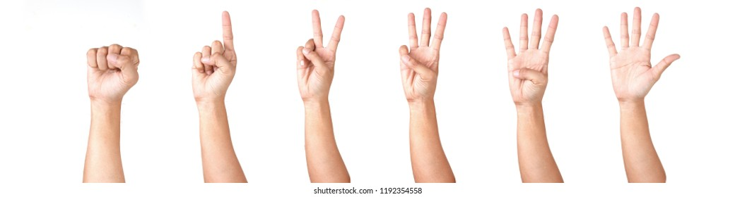 Man Hand Isolated on White Background  : Hand Counts from Zero to Five. Fist. Rock Paper Scissor.