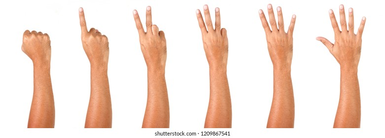 Man Hand Isolated on White Background  : Hand Counts from Zero to Five.