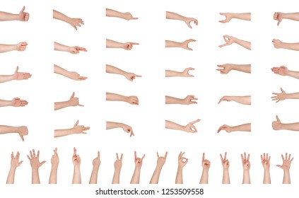 Man hand isolated on white background with clipping path, health care and medical concept. Set of Male hand isolated