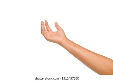 Man hand isolated on white background.