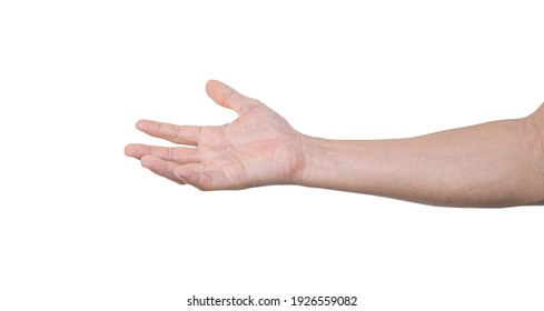 Man hand isolated on white background with clipping path.