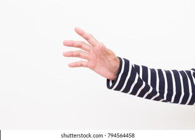 Man hand with long strip sleeve shirt