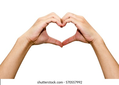 Man hand making a heart shape. isolated on white background with copy space
